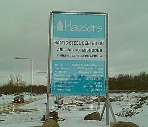 ehituse banner metallkonstruktsiooniga